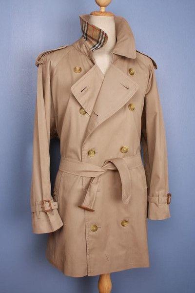 Large Vintage Burberry Trench Coat Classic Men's Extra Large Size Beige Tan XL pK883Ba