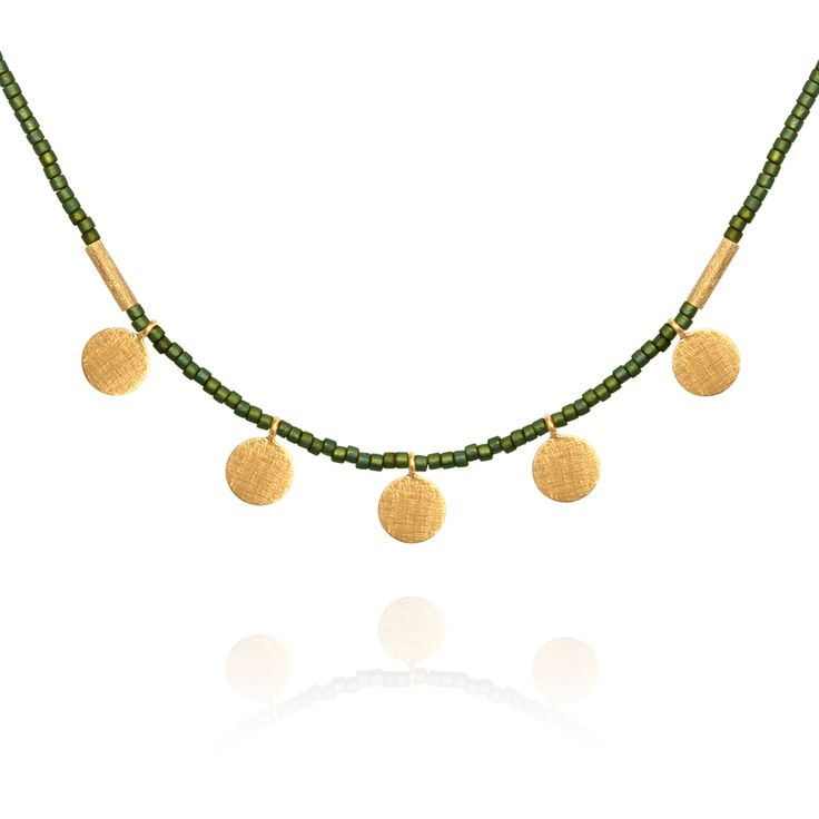 TEMPLE OF THE SUN JEWELLERY BYRON BAY - Seed Bead Necklace with Gold Disc Matt Green, $125.00 (http://www.templeofthesun.com.au/seed-bead-necklace-with-gold-disc-matt-green/)