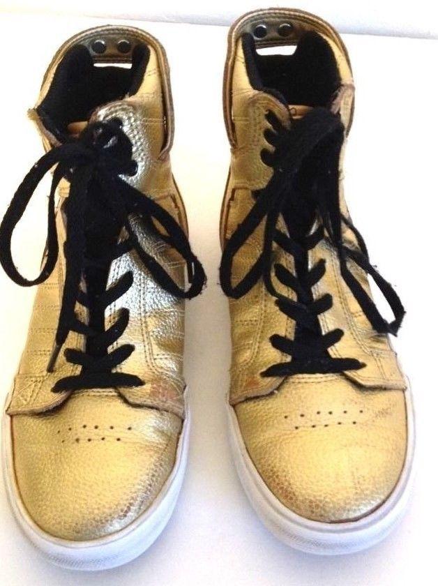 ADIDAS SUPRA MUSKA 001 SHOES HIGH TOPS YOUTH SIZE 3 GOLD & BLACK  #adidas #Muska001