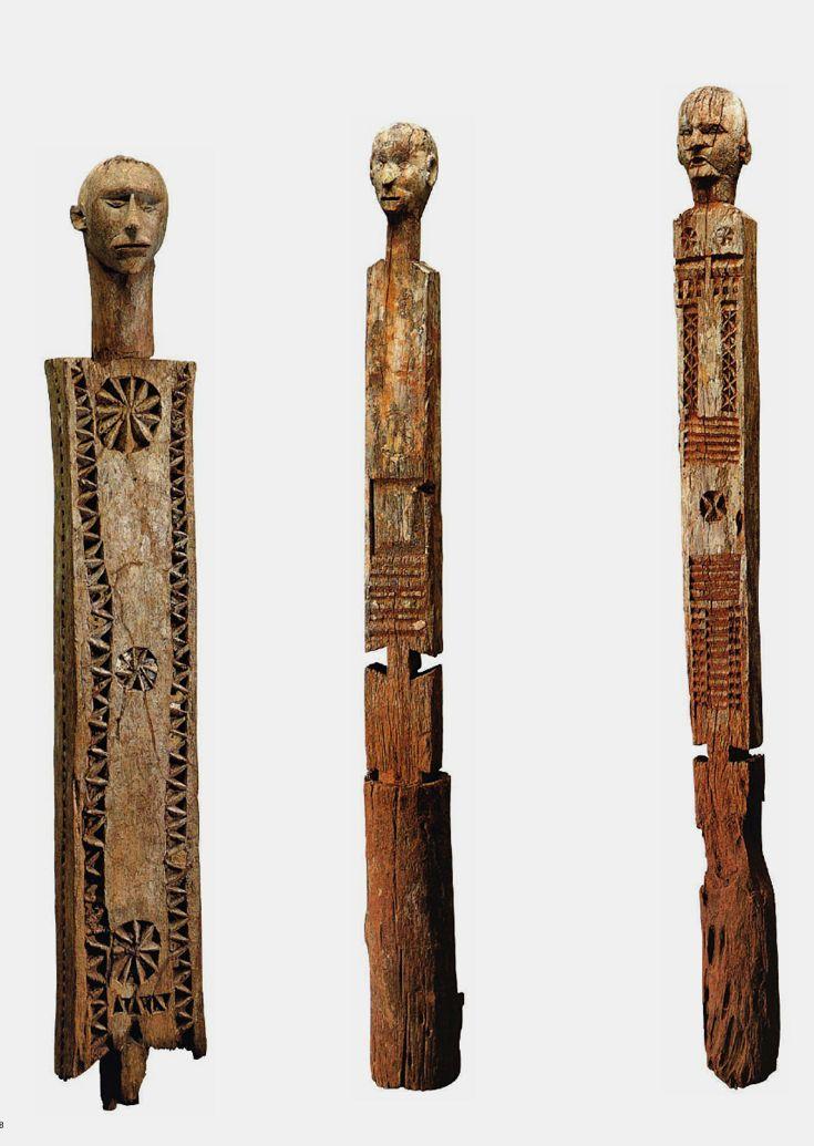 "Africa | ""Kigango / Vigango"" funerary posts from the Giryama people of Kenya | Wood || Source; http://issuu.com/yahzoo/docs/african_art_-_maurice_delafosse"