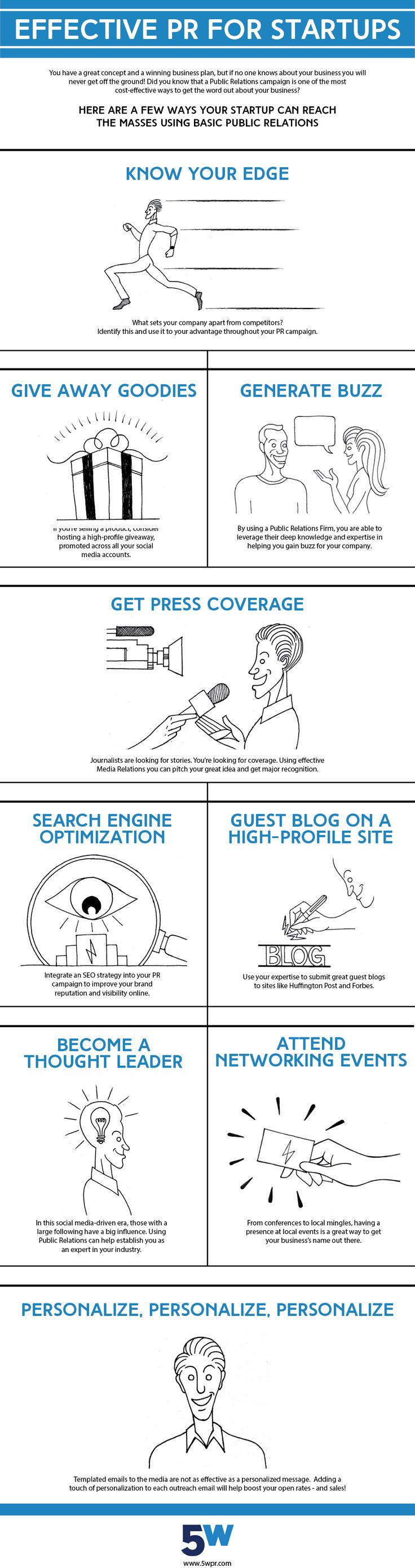 Effective PR for Startups. This infographic shows how any Startup can generate buzz and create a market through public relations.