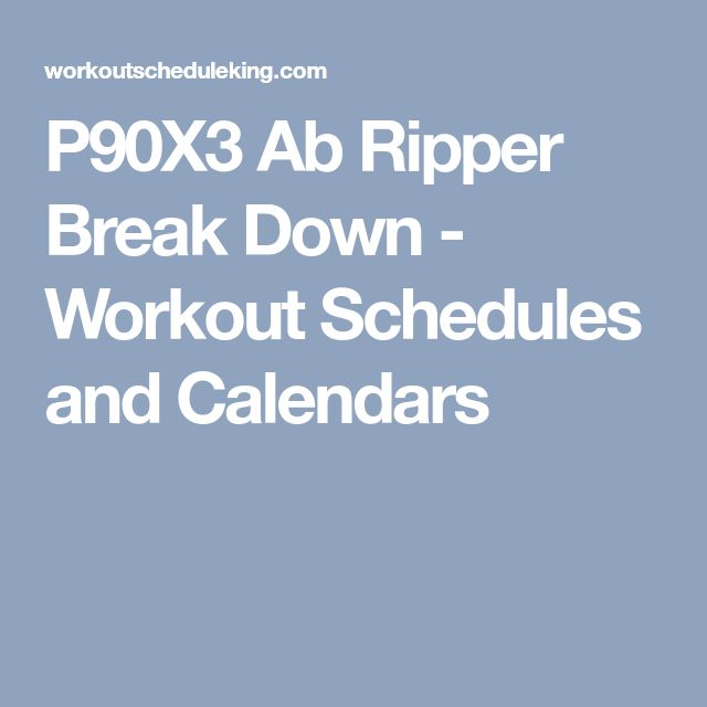 P90X3 Ab Ripper Break Down - Workout Schedules and Calendars