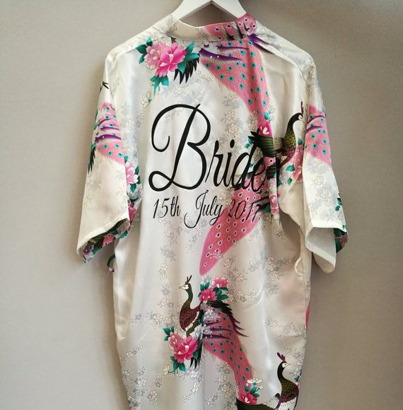 Personalised Bridal robes Floral Kimonos by SoLovelyWeddings