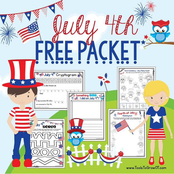 FREE July 4th packet! Includes Fourth of July Handwriting Page, Maze Paths, Cryptogram, Form Constancy, and Matching Activities. Happy Independence Day!