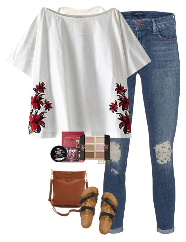 """""""Dinner with my gal pals!"""" by halledaniella ❤ liked on Polyvore featuring Tory Burch, Hollister Co., J Brand, SUNO New York, Birkenstock, Eva Fehren, Nannette de Gaspé, tarte and Burt's Bees"""