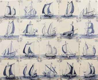 A Dutch blue and white shipping tile panel