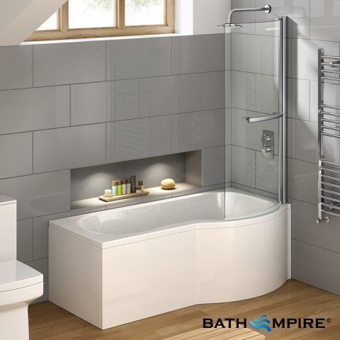 1675mm Right Hand P-Shaped Bath with 6mm Screen, rail & front panel