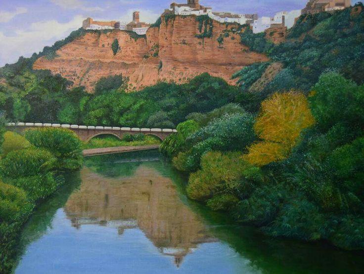 Oleo sobre lienzo de gabardina de mi pueblo #ArcosdelaFrontera #Cadiz pintado por @iciarorozco en https://tarantulatattoo.com de #Malaga #pueblo #peña #parador #Arcos #realismo #arte #lago #pinturapueblo