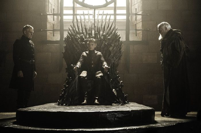 "Game of Thrones: Kevan Lannister (Ian Gelder), Tommen Baratheon (Dean Charles Chapman), Maester Pycelle (Julian Glover) season 6 episode 8 ""No One"""