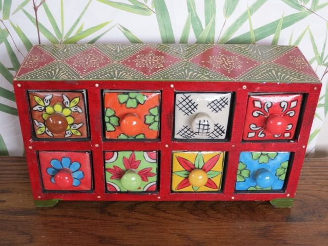 Ceramic 8 Spice Drawer : red