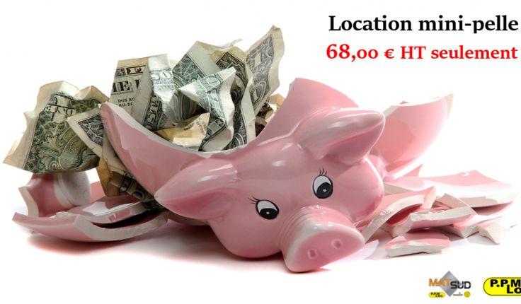 Location de votre mini-pelle à partir de 68.00€ HT la journée sur présentation du code promo PPMLOCJUIN68 !  En juin on profite du mois malin !