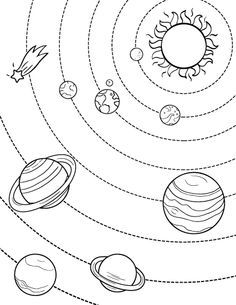 Printable Solar System coloring page. Free PDF download at http://coloringcafe.com/coloring-pages/solar-system/                                                                                                                                                                                 More