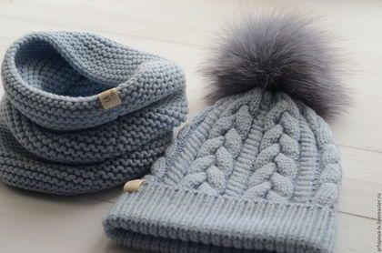 Купить или заказать Детская шапка вязаная шапка и снуд , комплект 'Голубой ' в интернет-магазине на Ярмарке Мастеров. Теплый детский комплект из 100% итальянского мериноса. Шапочка плотная и теплая. Помпон из песца, снимается. Сезон: осень-зима.