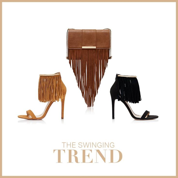 Swing into the fringe trend with these playful 70's inspired pieces. Which item will you be adding to your summer wardrobe? FRANKIE FRINGE HIGH HEEL R1199 SASSY FRINGE SMALL BAG R499
