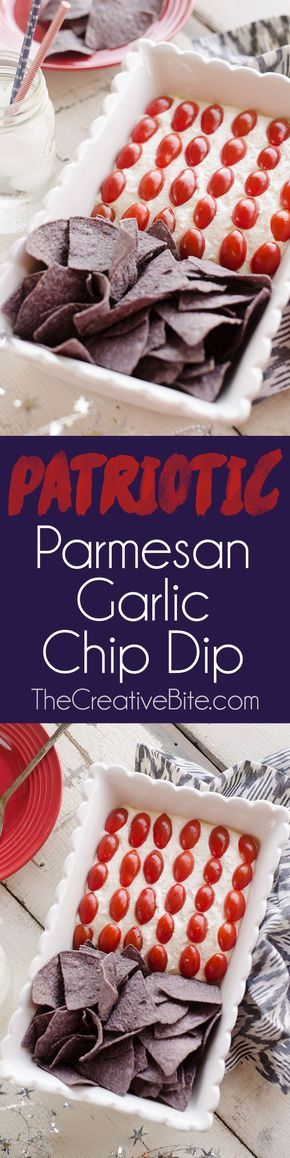 Patriotic Flag Parmesan Garlic Chip Dip is a festive appetizer recipe perfect for a holiday party with red, white and blue colors! This easy 5 minute Parmesan garlic dip is topped with cherry tomatoes and served with blue corn tortilla chips for a delicious dish sure to be a crowd pleaser. #RedWhiteBlue #Patriotic #4thofJuly