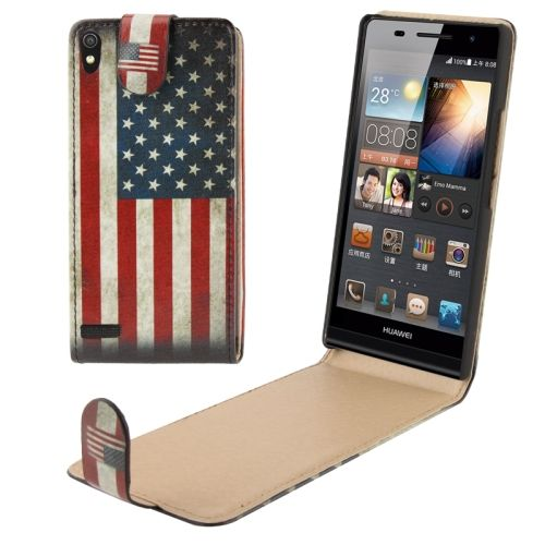Huawei Ascend P6 USA flag flip cover, hoesje, frontje