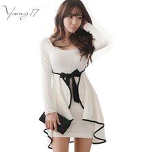 Young17 Сексуальные Оборками Bodycon Платье Южной Кореи Стиль Белые Женщины Одеваются Полный Рукав Осень-Весна Мини-Платье Свадебные Платья с Бантом(China (Mainland))