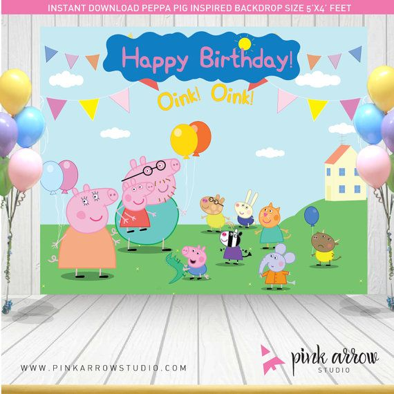 Peppa Pig Birthday Peppa Pig Backdrop Peppa by PinkArrowStudio