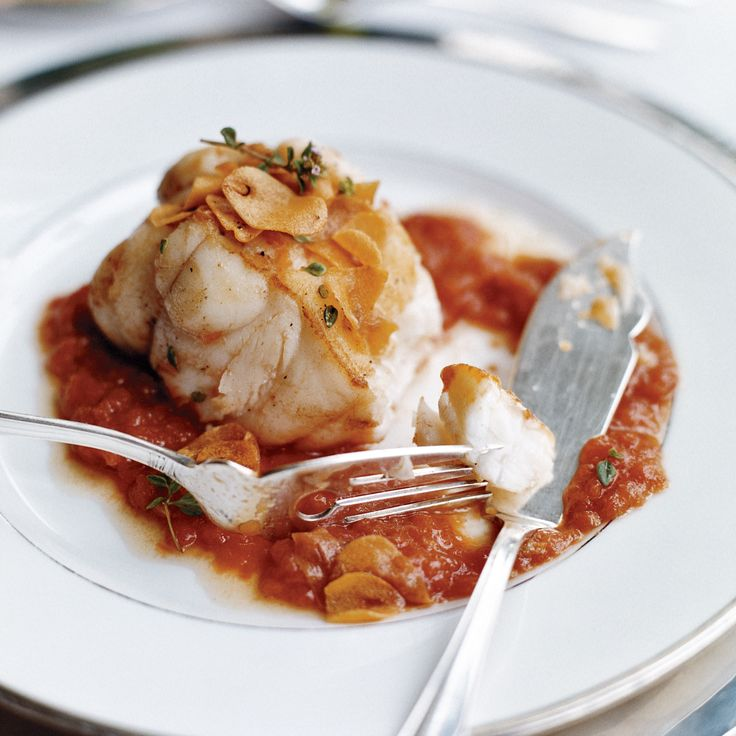 Monkfish in Tomato-Garlic Sauce | Recipe | Sauces, Seafood ...