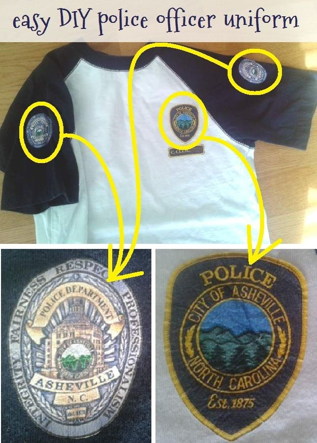 easy diy police officer uniforms t shirts for police partyhalloween - Homemade Halloween Shirts