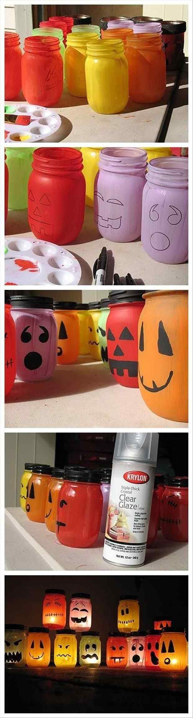 diy halloween deko anleitung marmeladengläser bunte kerzenlichter gesichter