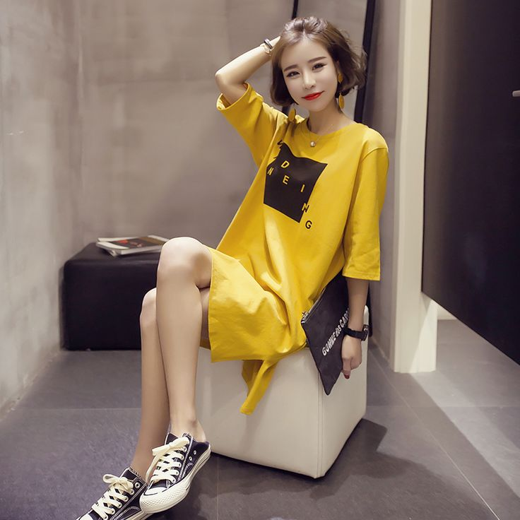 2017 Spring And Summer New T-shirt Dress Female Big Size Dress For Women Fat Yellow Loose Plus Size Dress 4XL