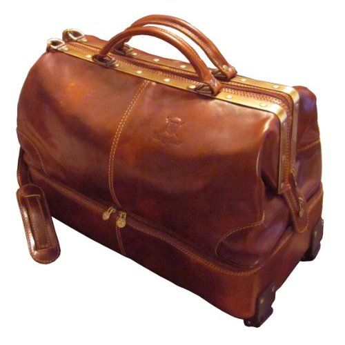 Italian leather weekend bag with wheels... complete with a separate shoe compartment to complement my OCD!