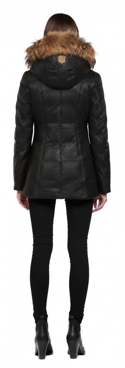 INGRID-F5 | BLACK LEATHER DOWN COAT WITH FUR HOOD FOR WOMEN | MACKAGE