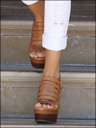 strappy brown wedges.