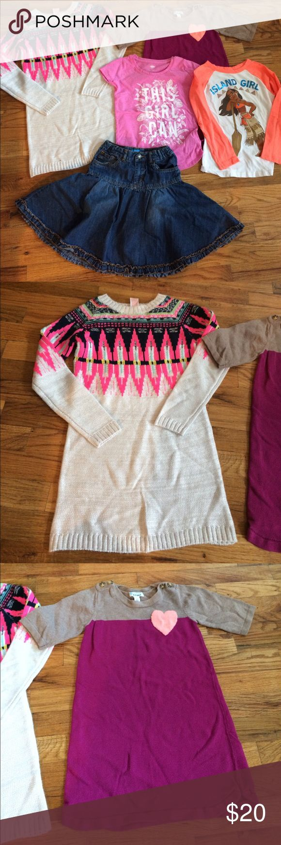 Girls 6x bundle 5 items for girls size 6x including a new without tags Cat and Jack sweater dress and Moana Disney tee and pink This girl can tee. All in great shape. Denim skirt with ruffle is Children's Place and heart sweater dress from Old Navy. No stains or holes. Great clothes! Disney Shirts & Tops Tees - Long Sleeve