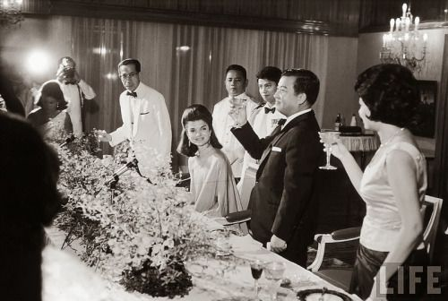 """mrs-kennedy-and-me: """"Jackie Kennedy is toasted by Prince Norodom Sihanouk and his wife at the royal palace. Cambodia, Nov 1967 """""""