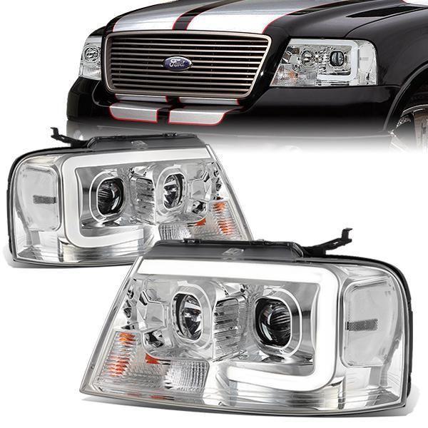 04 08 Ford F 150 Lincoln Mark Lt Headlights 3d Led Bar Chrome