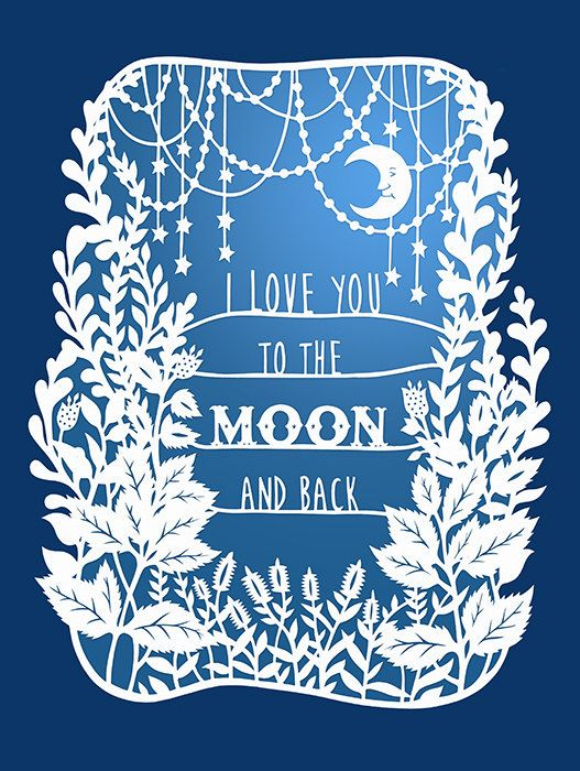 To the Moon and Back 5x7 Print Original by SarahTrumbauer on Etsy