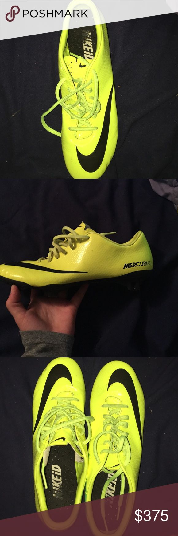 NikeiD neon yellow women's soccer cleats they were worn once or twice, I no longer need them, since I have another pair of cleats. they're very sturdy & comfortable Nike Shoes Athletic Shoes