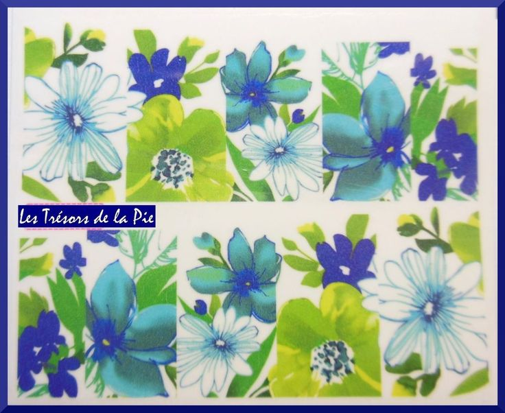 STICKERS ONGLES WATER DECAL (x10) , Nail art , Motif fleurs , Multicolore