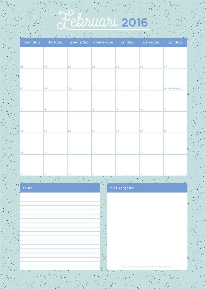 free printable maandplanner februari 2016
