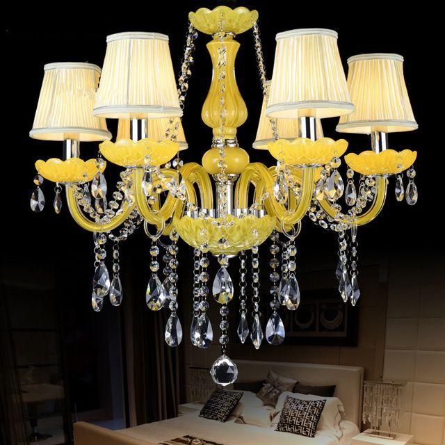 Кухня Люстра освещение для домашнего освещения 6 Огни Avize lustre de cristal с абажур современный хрустальные люстры лампы