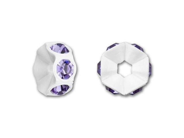 Swarovski 4720 PP18 White Mini Plastic Rondelle with Tanzanite Crystals