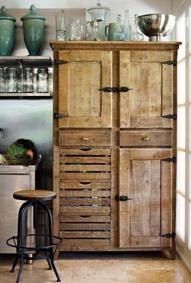 Palettenschrank Die Tollsten Ideen Und Wie Sie Ihre Neu Dekoration Stile In 2020 Europaletten Mobel Speisekammer Schrank Rustikale Mobel