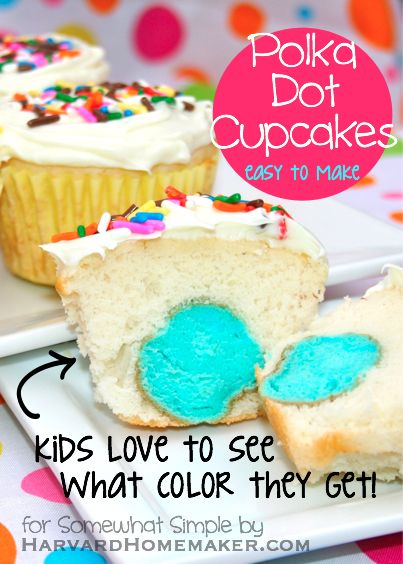 Easy Polka Dot CupcakesCute And Easy Cupcakes, Dots Cupcakes, Cupcakes Ideas, Cupcakes Birthday, Easy Birthday Cupcakes, Cute Kids Cupcakes, Cupcakes Tutorials, Cupcakes Shape, Gender Reveal Cupcakes