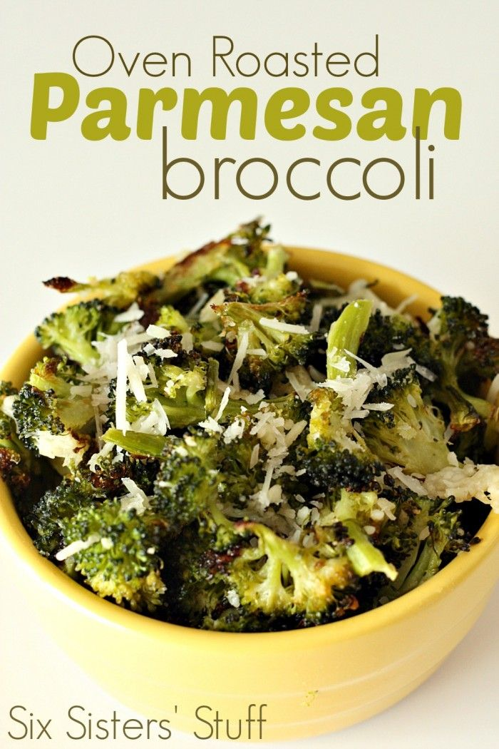 Oven Roasted Parmesan Broccoli form SixSistersStuff.com. This is so easy- makes a quick side dish!