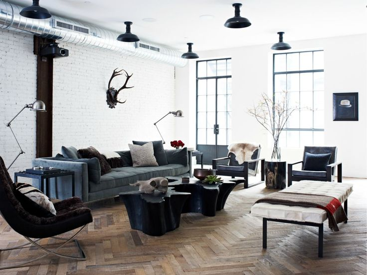Full Size Image Of Living Room Herringbone Floor Modern Soho Loft White  Exposed Brick Cococozy Jennywolf At Uploaded By