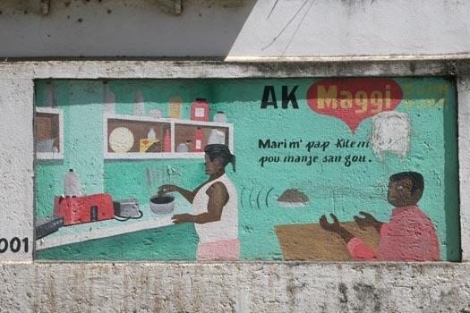 Advertisement as a mural in Cap Haïtien, Haiti