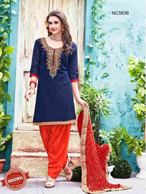 Dark Blue & Orange Chanderi Silk Patiala Suit