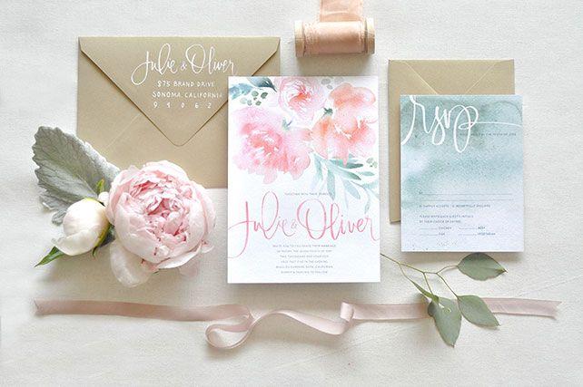 Свадебные тренды 2015 - акварельные приглашения, пионы
