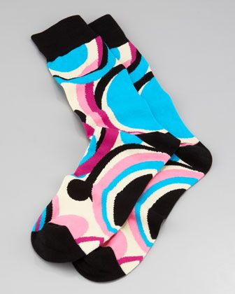 I love these socks!!! (: Swirls Men\'s Socks, Black by Arthur George by Robert Kardashian at Neiman Marcus.