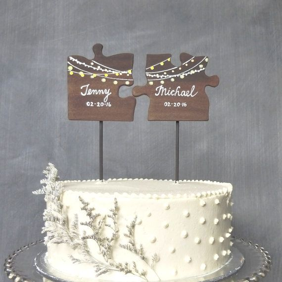 Wooden Wedding Cake Topper, Puzzle Pieces Topper, Mr/ Mrs Wedding Cake Topper, Fairy Lights Cake Topper
