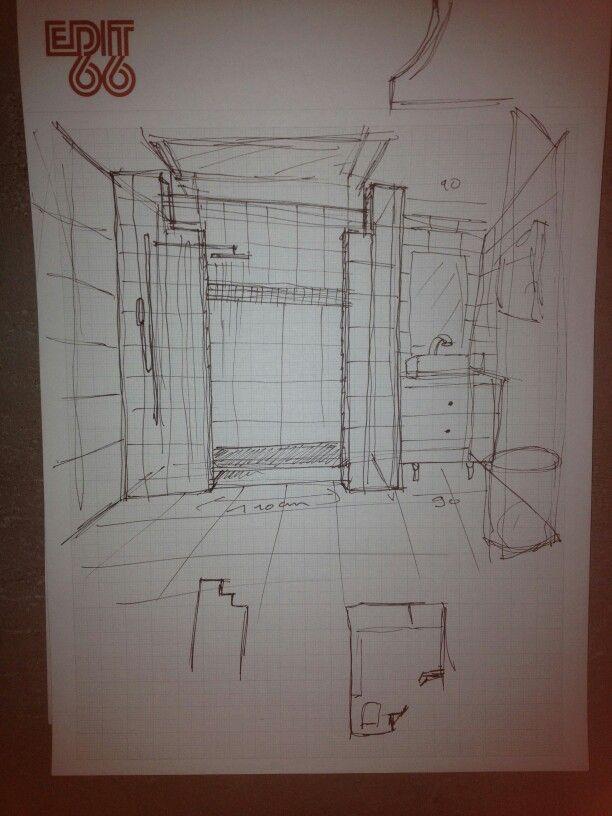 Croquis salle de bains renovation appartement for Croquis de salle de bain