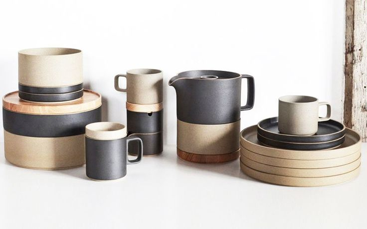 This stack-able ceramic dinnerware are made from a unique mixture of porcelain and clay. Available in plates and bowls of various diameters, the dinnerware combines traditional Japanese ceramic techniques with a contemporary design. The pieces are unglazed, which results in a matte finish and a slightly rough texture. Made in Hasami - a cer