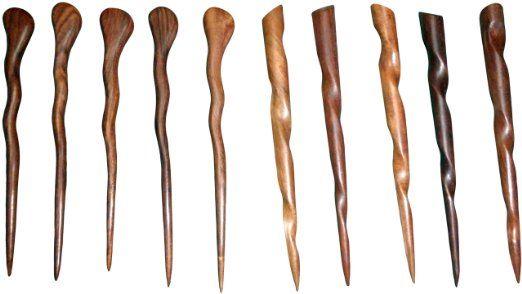 JWL (5) Rosewood Spiral & (5) Conical Hair Sticks Picks Pics Pins Forks - Hawaiian Style